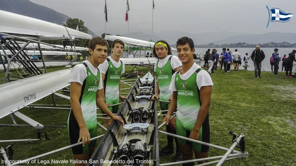 Quattro di coppia : Francesco Gazzoli, Marco Bevilaqcua, Davide Travaglini e Stefano Albini